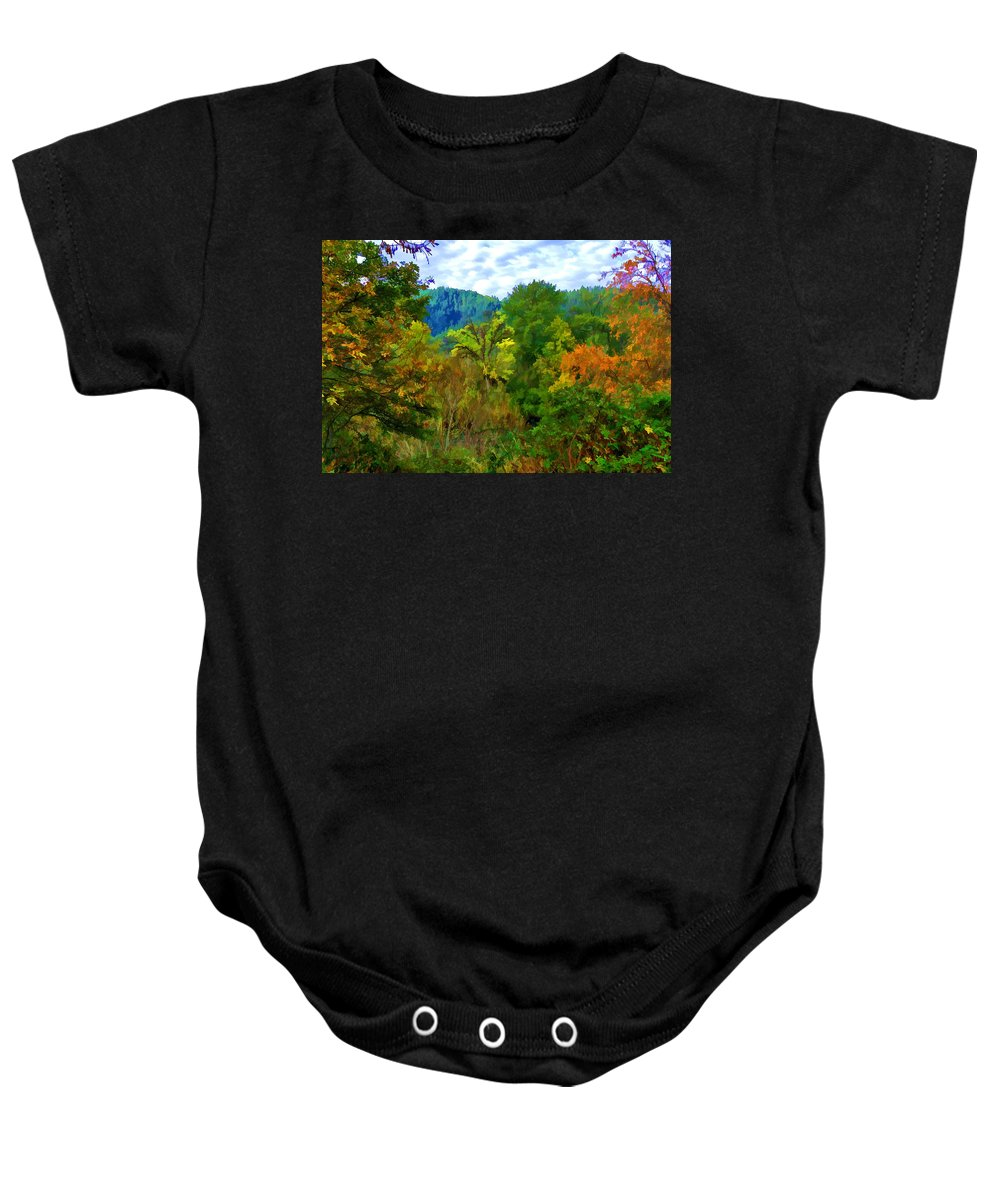 Autumn Baby Onesie featuring the photograph Early Autumn Along The Rogue River In Oregon by Kenneth Roberts