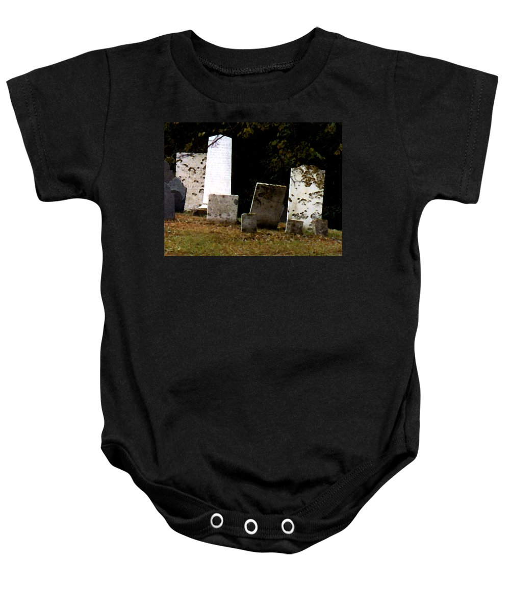 Grave Stones Baby Onesie featuring the painting Early Settlers by Paul Sachtleben