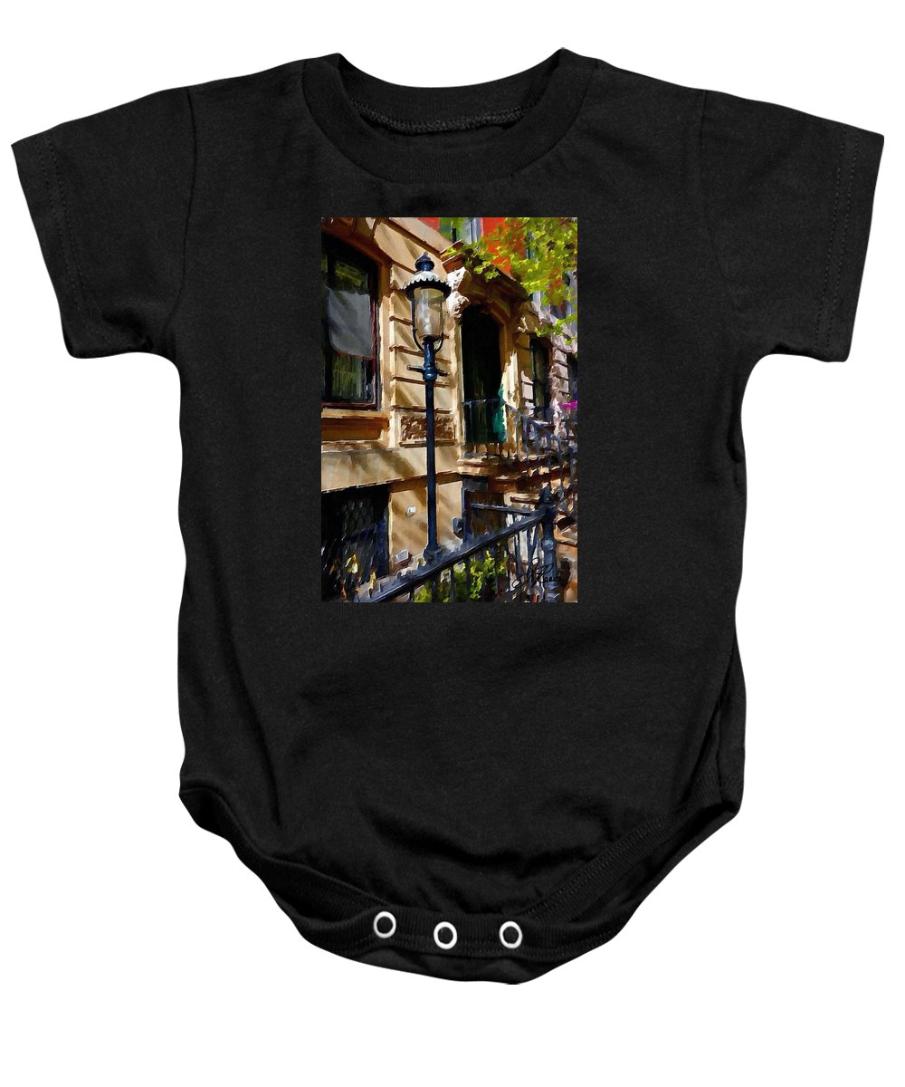 New York City Pre War Buildings Baby Onesie featuring the photograph East Village New York Townhouse by Joan Reese