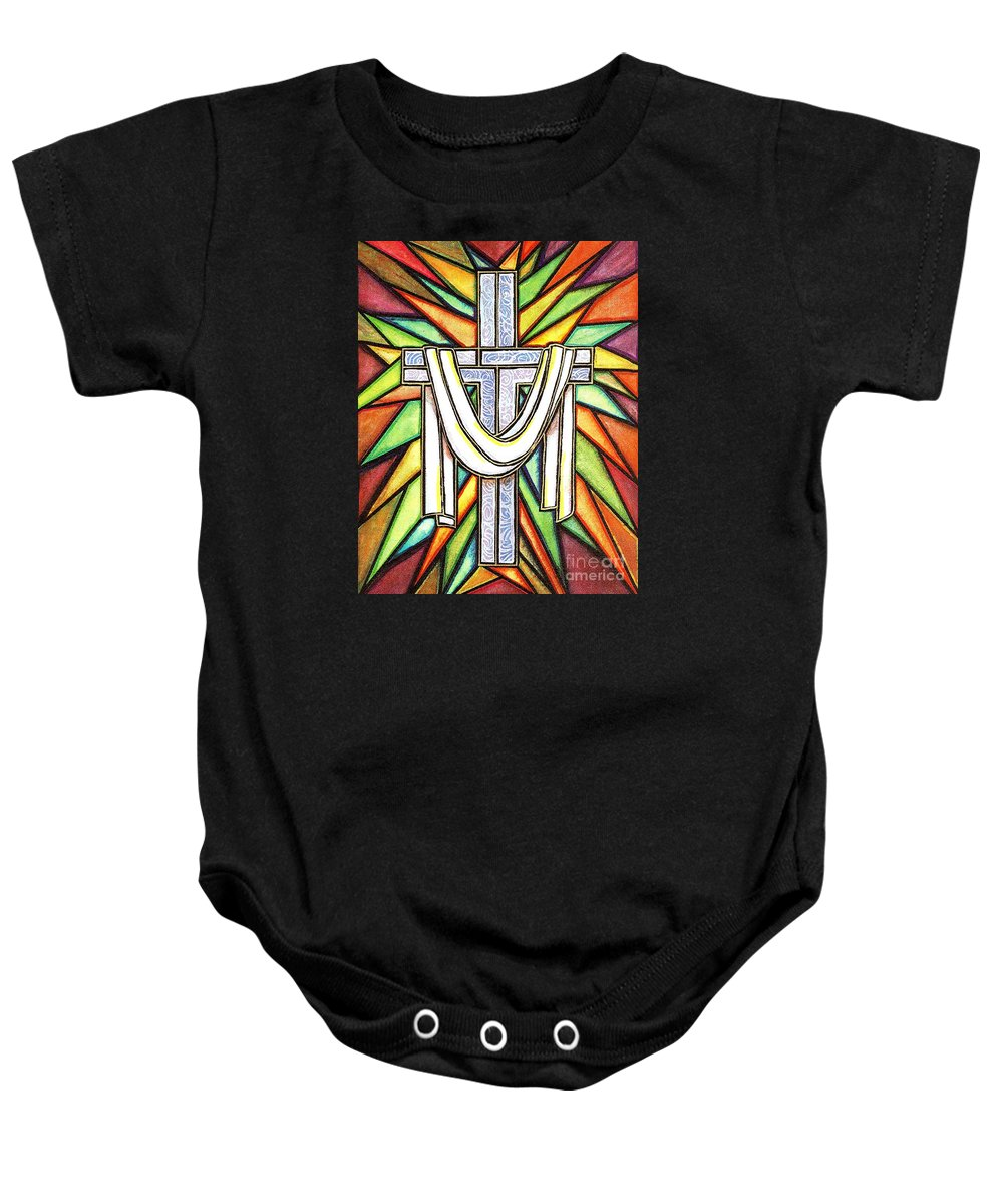 Cross Baby Onesie featuring the painting Easter Cross 5 by Jim Harris