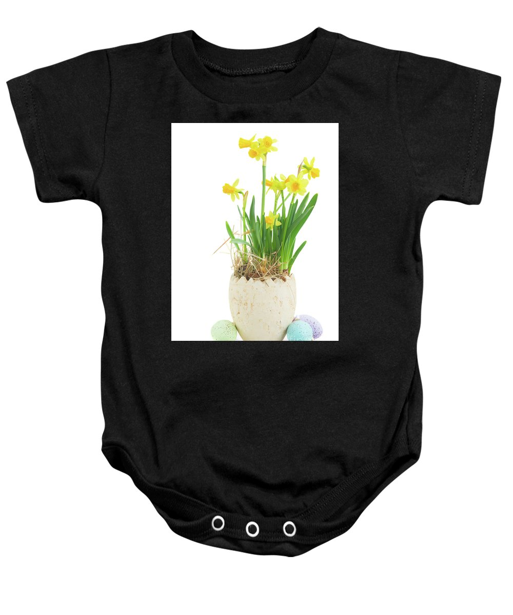 Easter Baby Onesie featuring the photograph Easter Eggs Hunt by Anastasy Yarmolovich