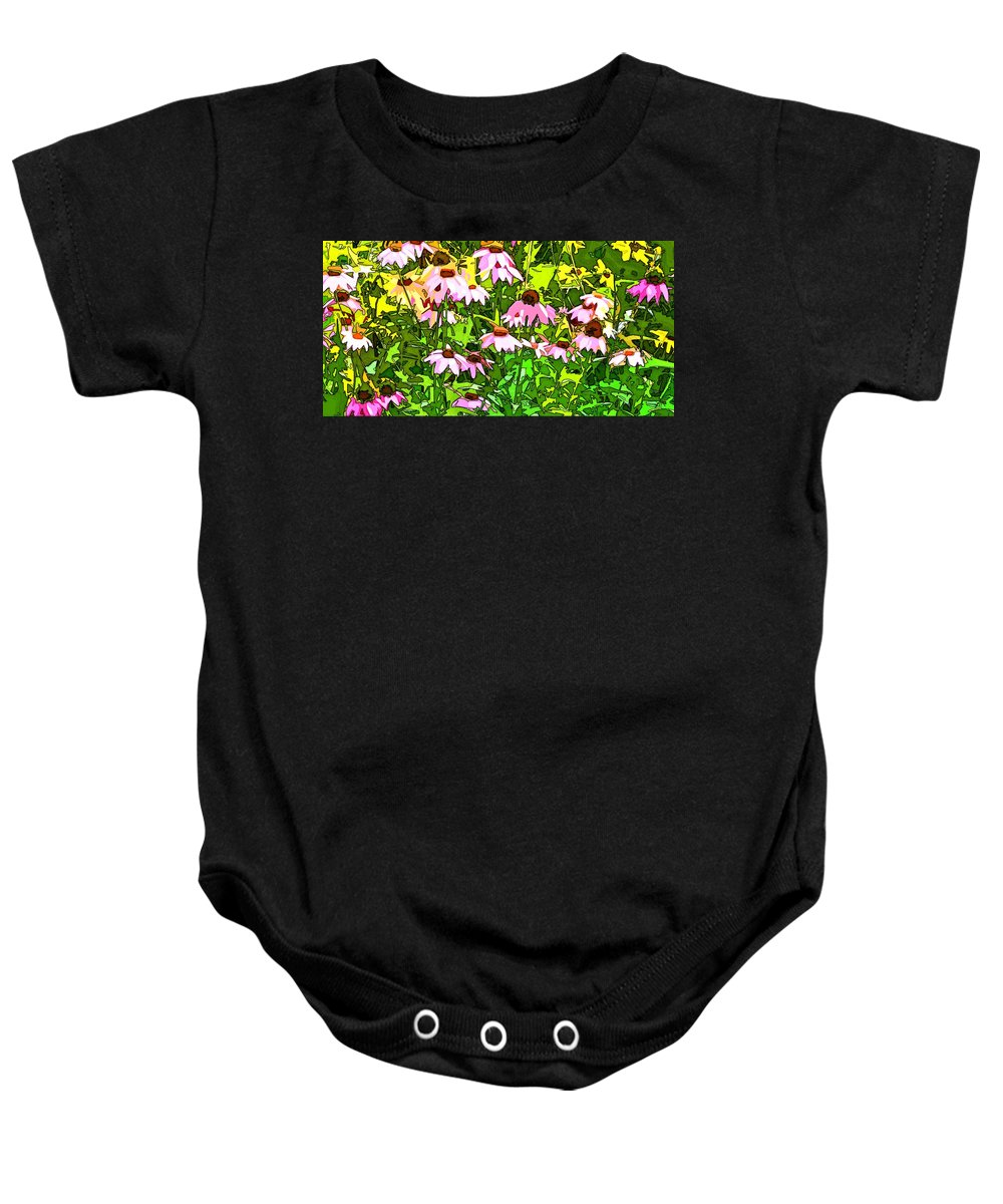 Contemporary Baby Onesie featuring the digital art Echinacea Imagined by Linda Mears