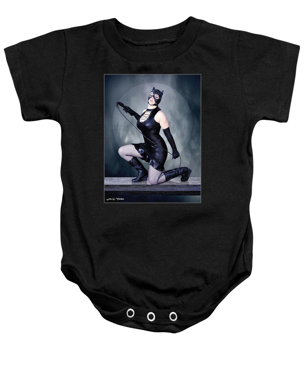 Cat Woman Baby Onesie featuring the photograph Eclipse Of The Black Cat by Jon Volden