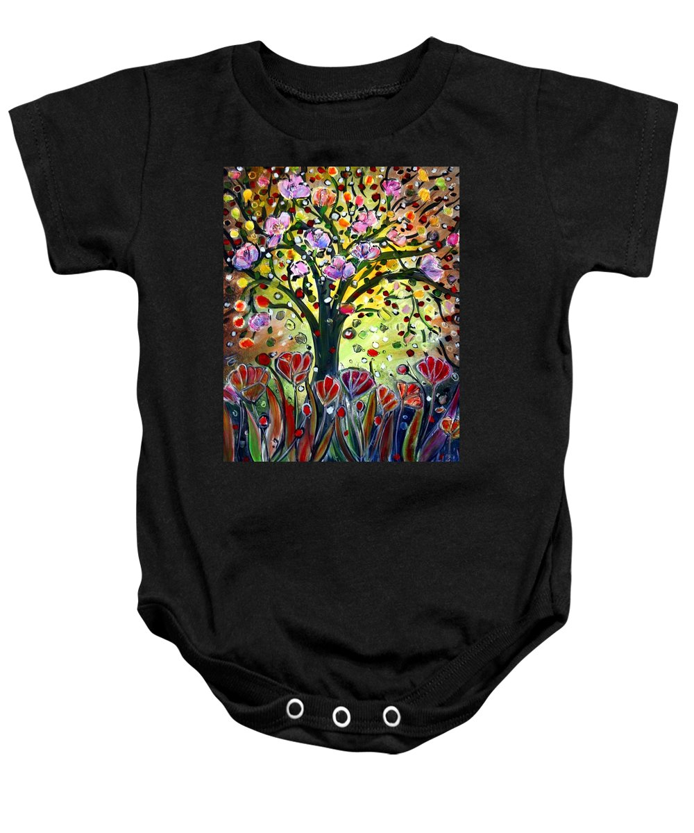 Flowers Baby Onesie featuring the painting Eden Garden by Luiza Vizoli