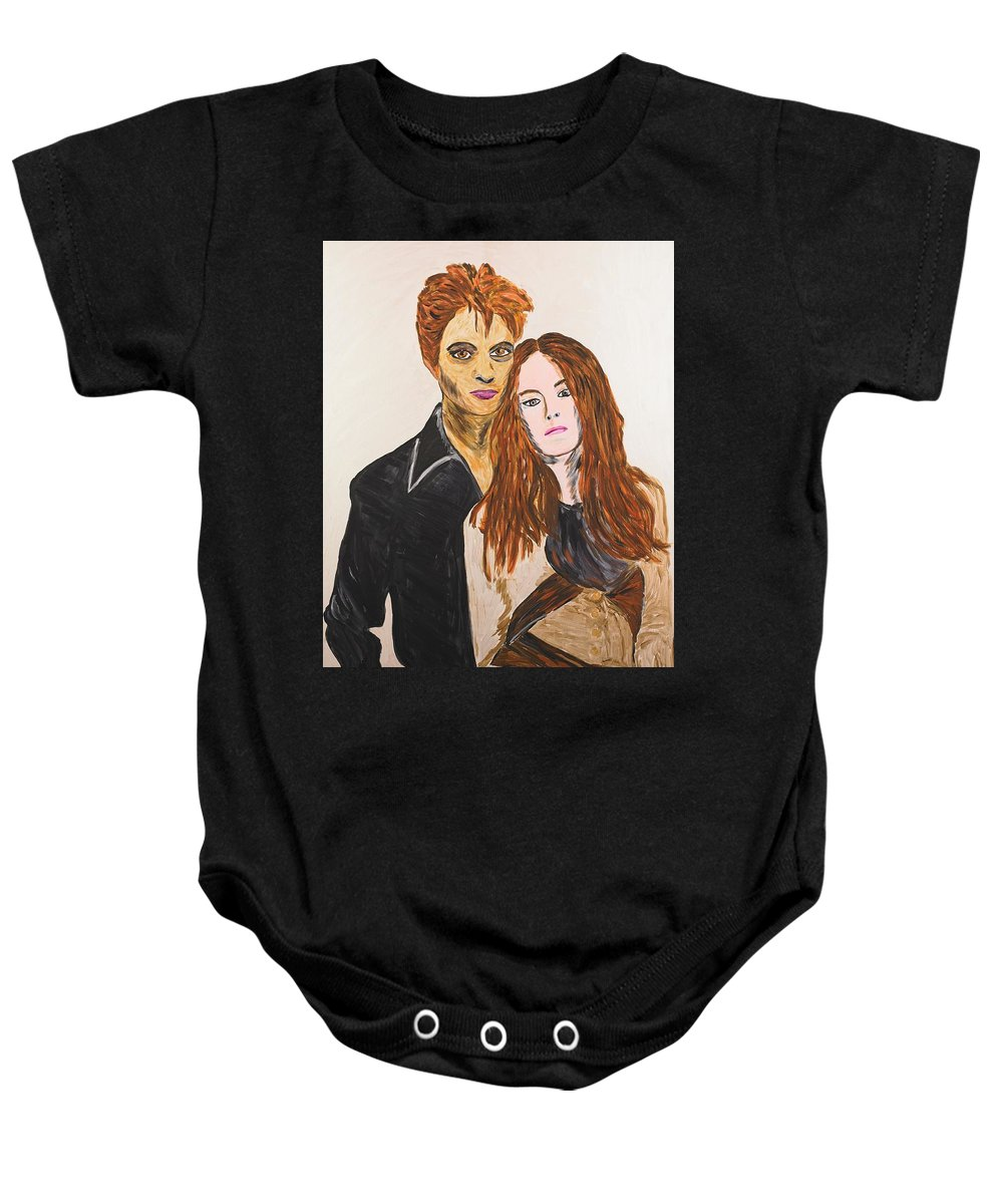 Edward Baby Onesie featuring the painting Edward And Bella by Valerie Ornstein