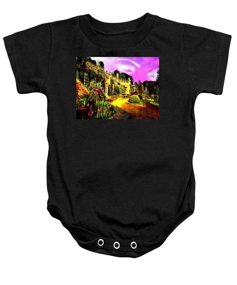 Mansion Baby Onesie featuring the digital art Eerie Estate by Seth Weaver