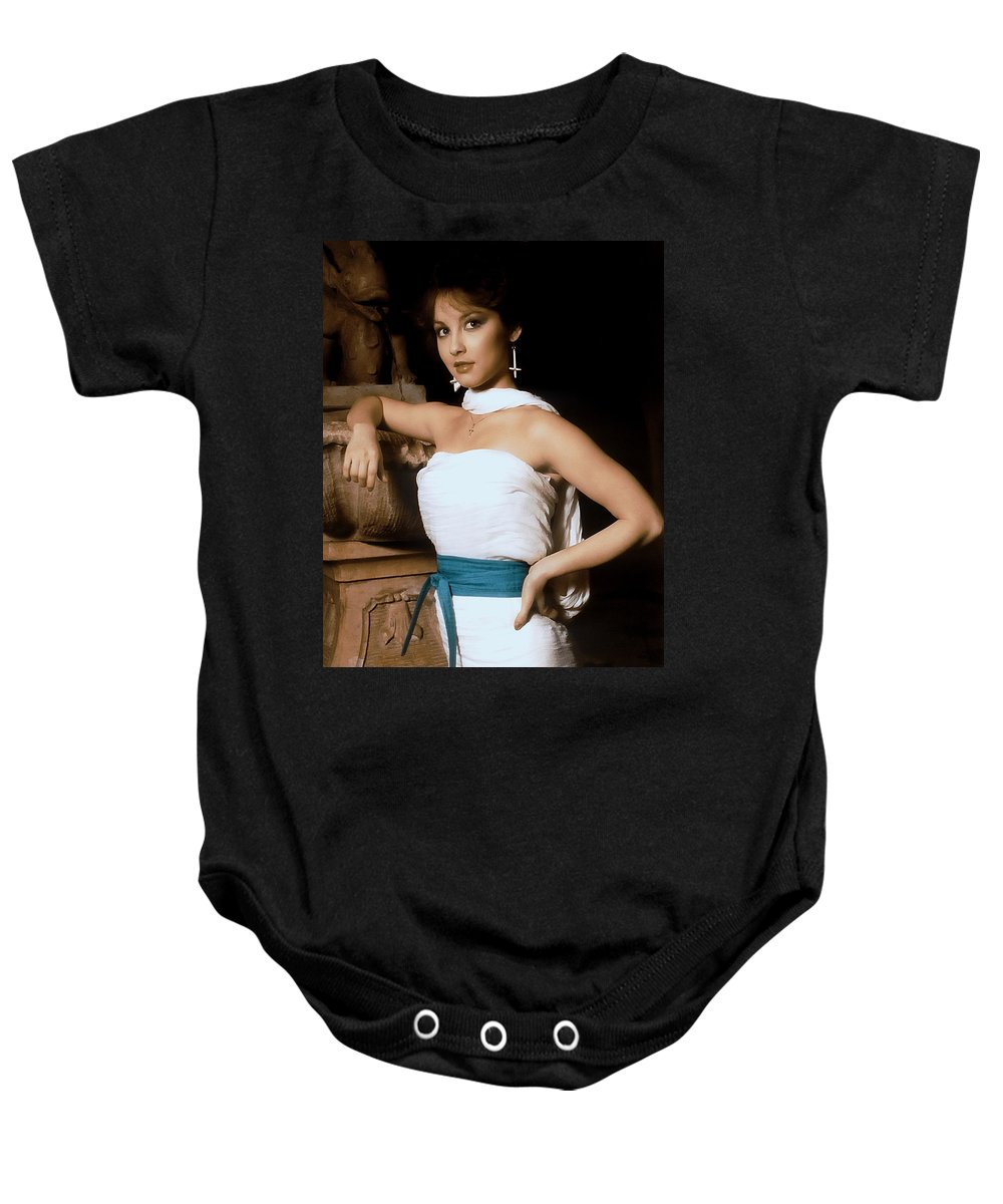 Attractive Baby Onesie featuring the photograph Egyptian Goddess by Anthony Dezenzio