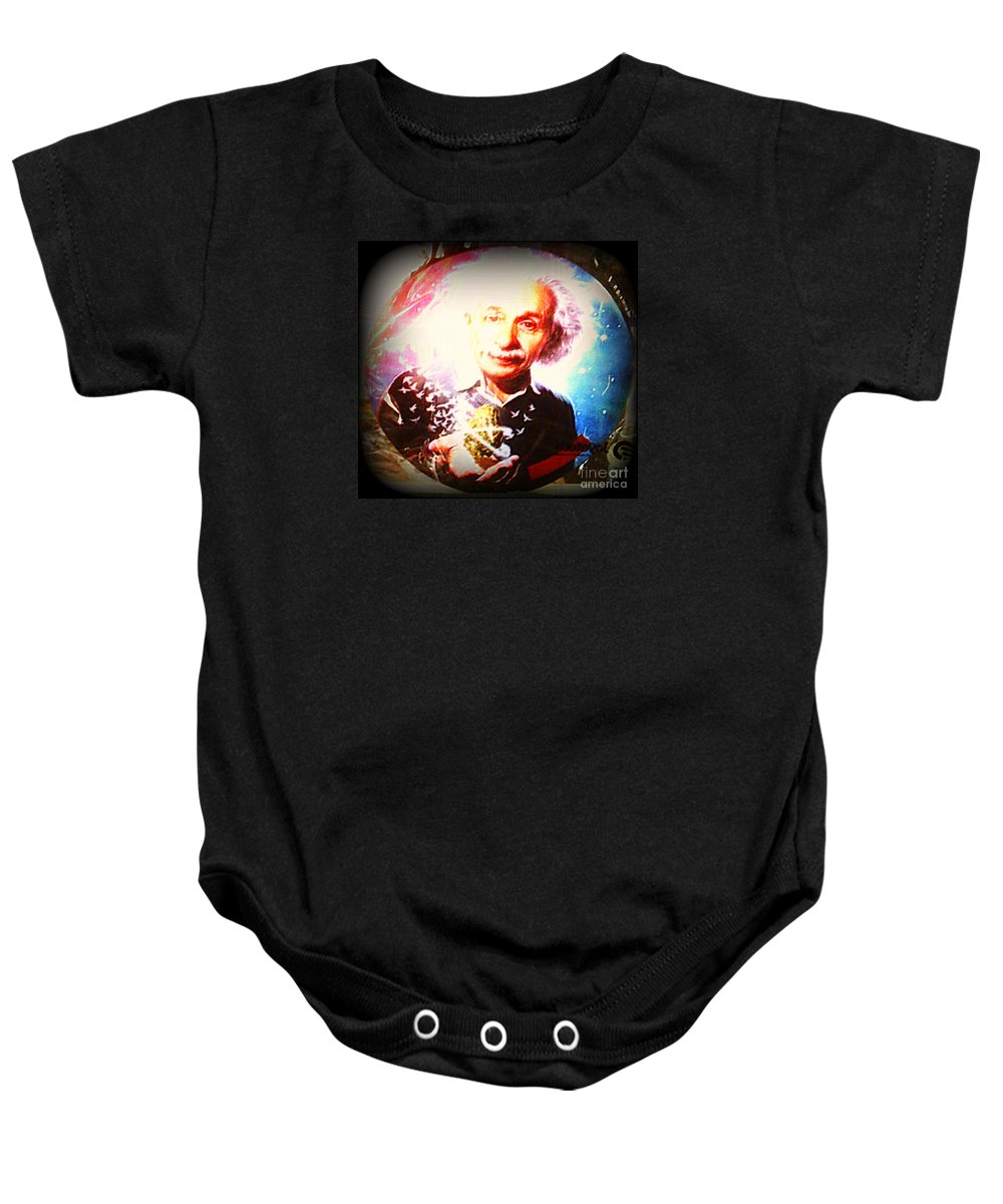 Baby Onesie featuring the photograph Einstein On Pot by Kelly Awad