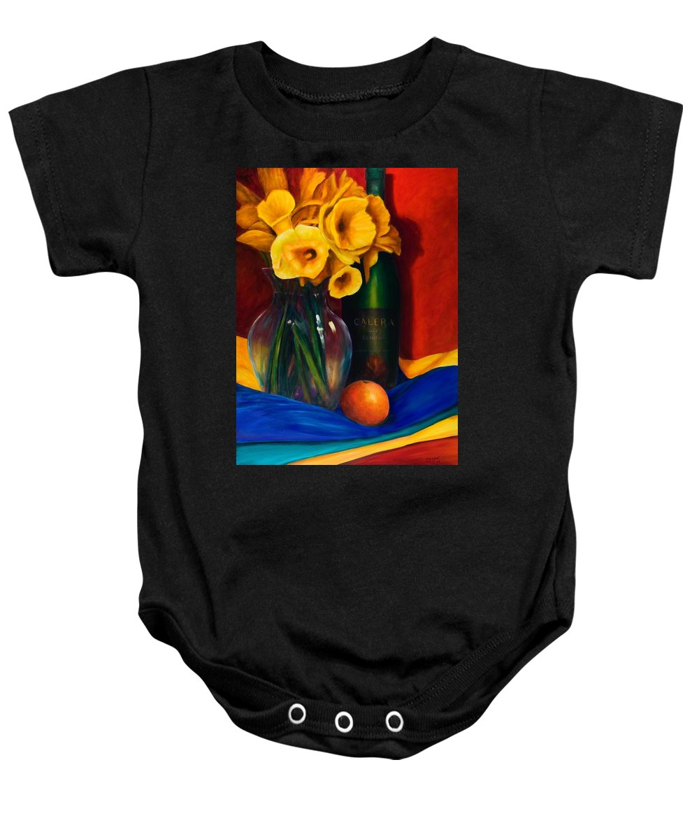 Red Baby Onesie featuring the painting El Nino by Shannon Grissom