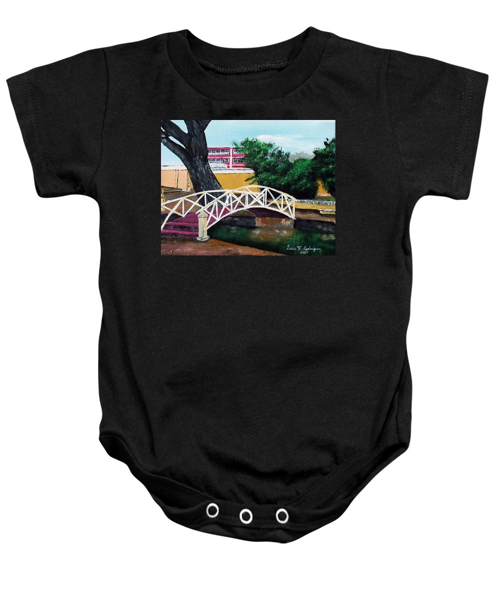 Aguadilla Baby Onesie featuring the painting El Parterre by Luis F Rodriguez