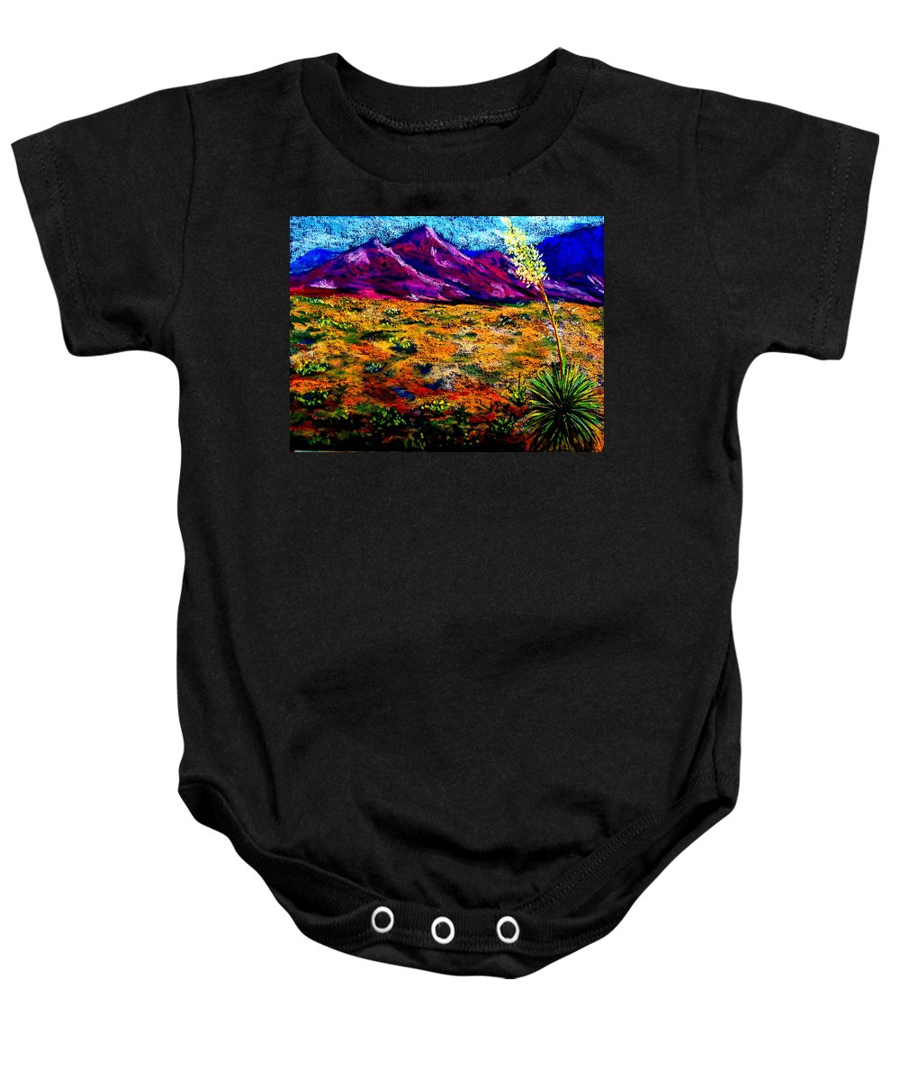 Yucca Baby Onesie featuring the painting El Paso by Melinda Etzold