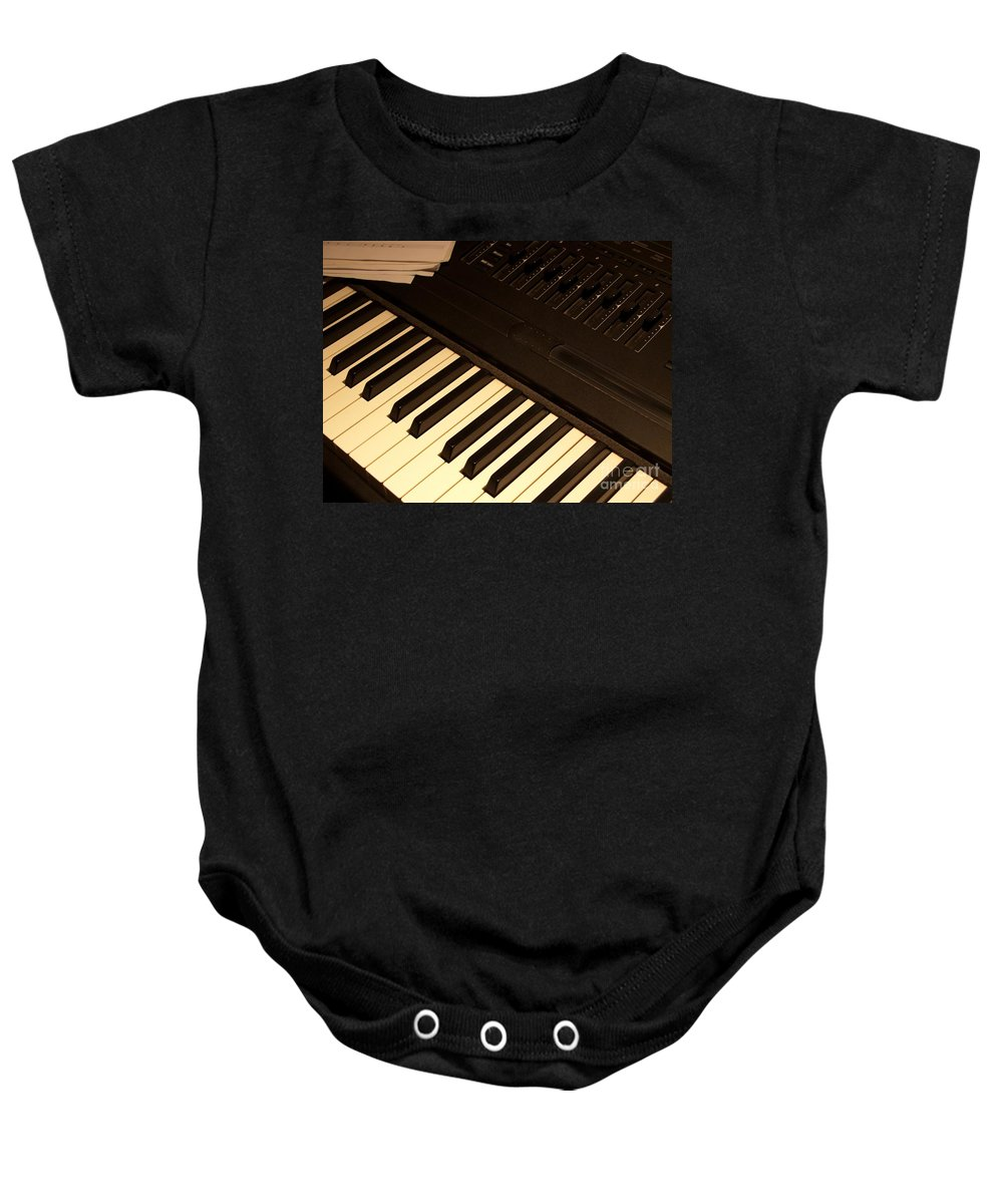 Keyboard Baby Onesie featuring the photograph Electronic Keyboard by Ann Horn
