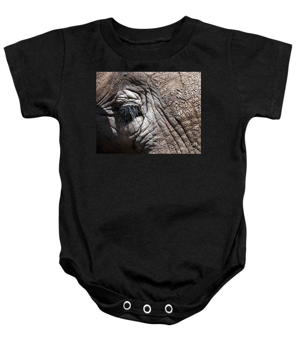 Animals Baby Onesie featuring the photograph Elephant Eye by Norman Andrus