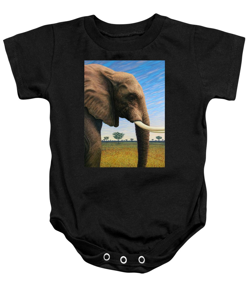 Elephant Baby Onesie featuring the painting Elephant On Safari by James W Johnson