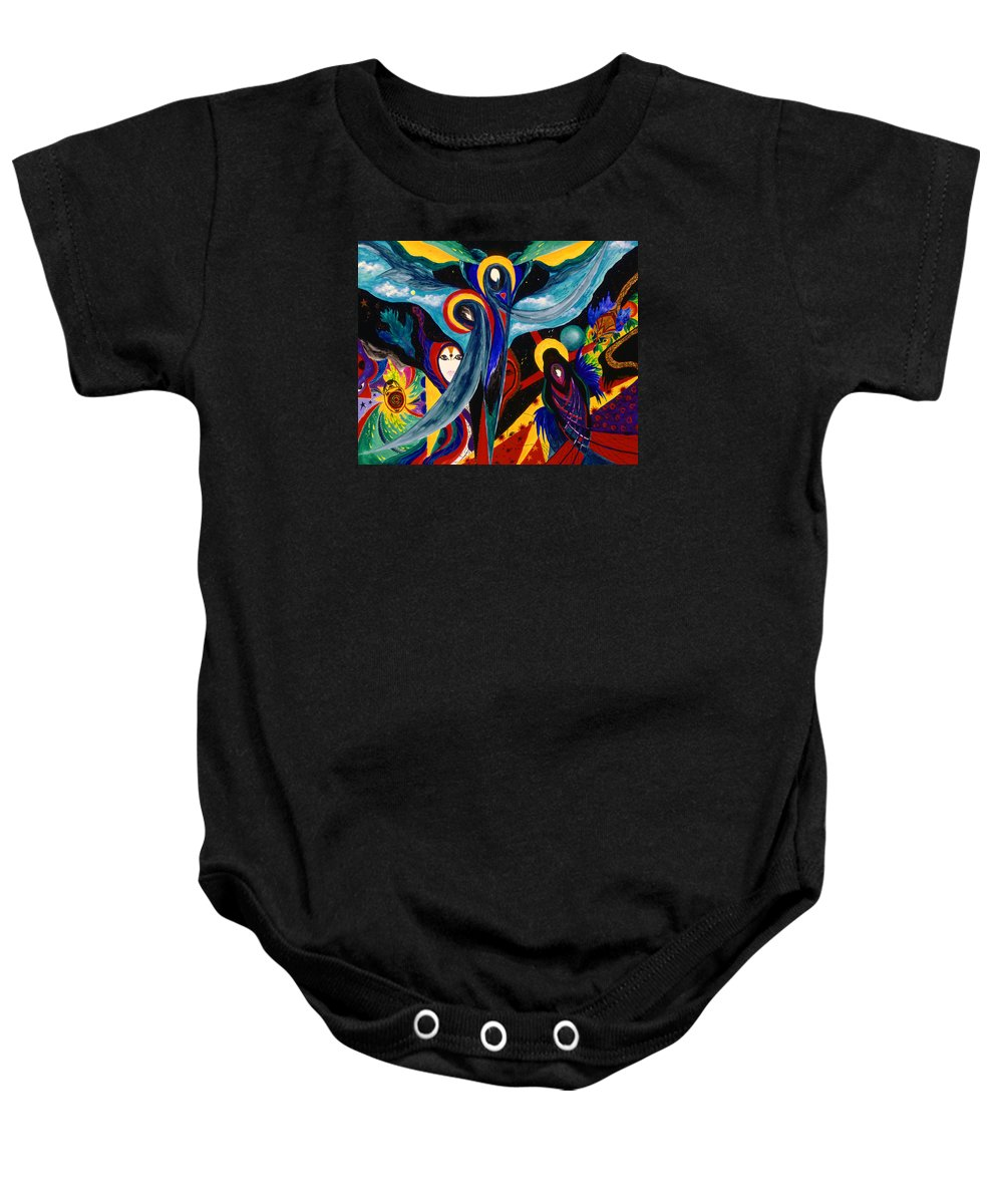Abstract Baby Onesie featuring the painting Grieving by Marina Petro