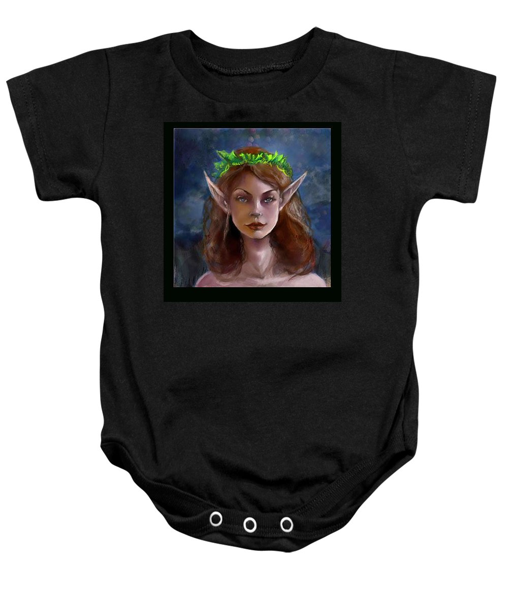 Digital Painting Portrait Baby Onesie featuring the painting Elf Girl 1 by Carrley Mason
