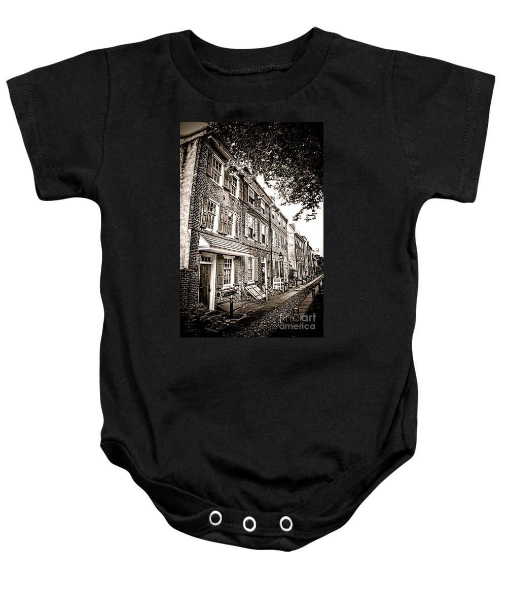 Elfreth Baby Onesie featuring the photograph Elfreth Alley by Olivier Le Queinec