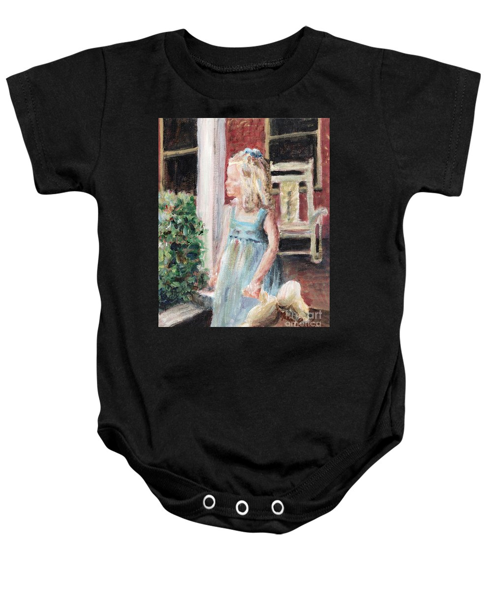 Girl Baby Onesie featuring the painting Elizabeth Anne by Nadine Rippelmeyer