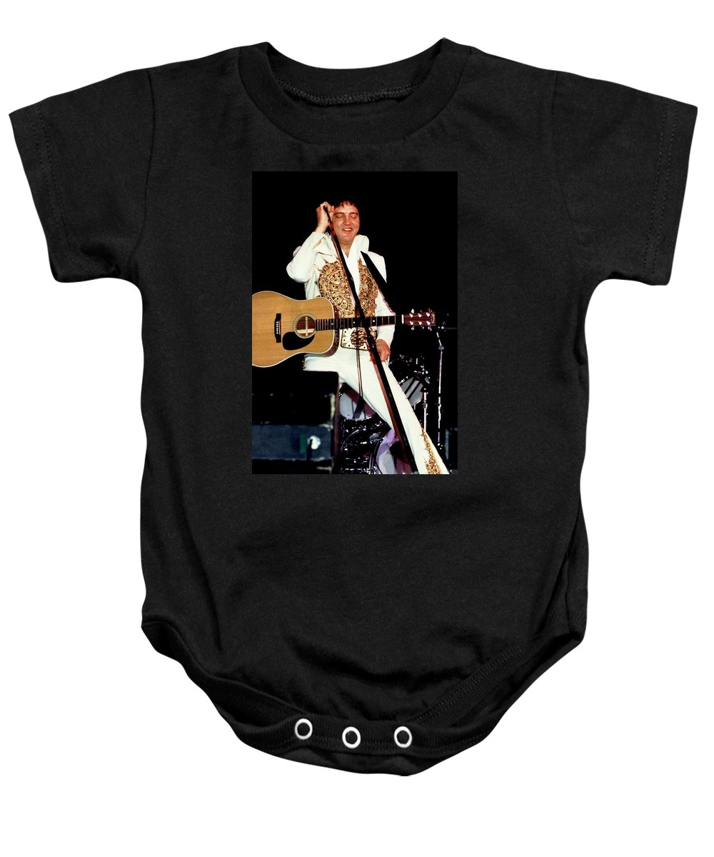 Icon Baby Onesie featuring the photograph Elvis In Concert by Anthony Dezenzio