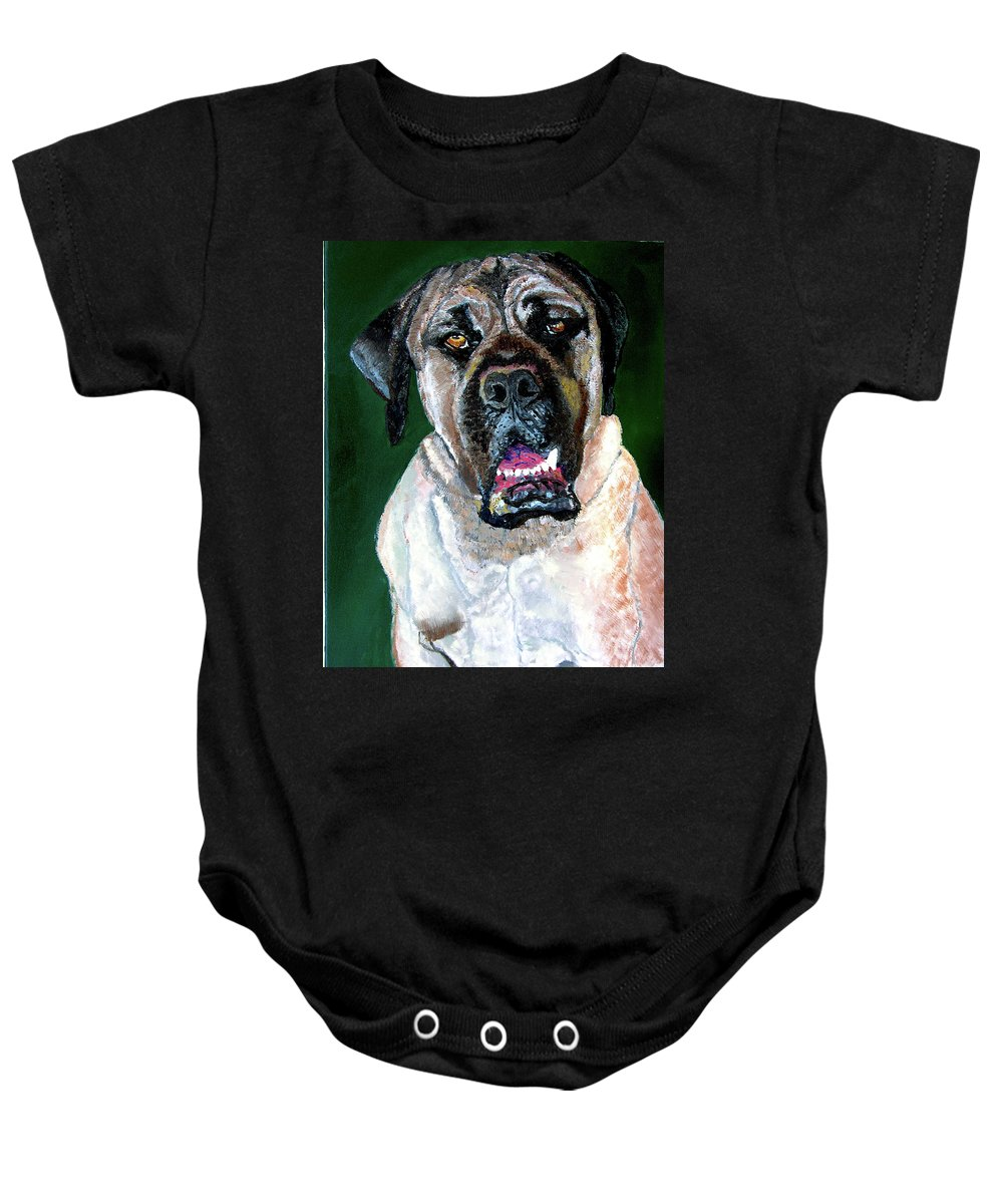Dog Portrait Baby Onesie featuring the painting Ely by Stan Hamilton