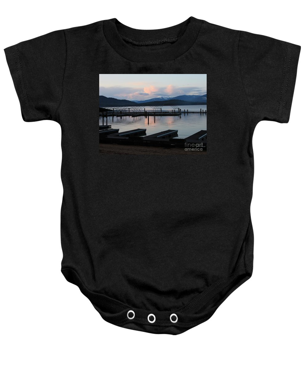 Priest Lake Baby Onesie featuring the photograph Empty Docks On Priest Lake by Carol Groenen
