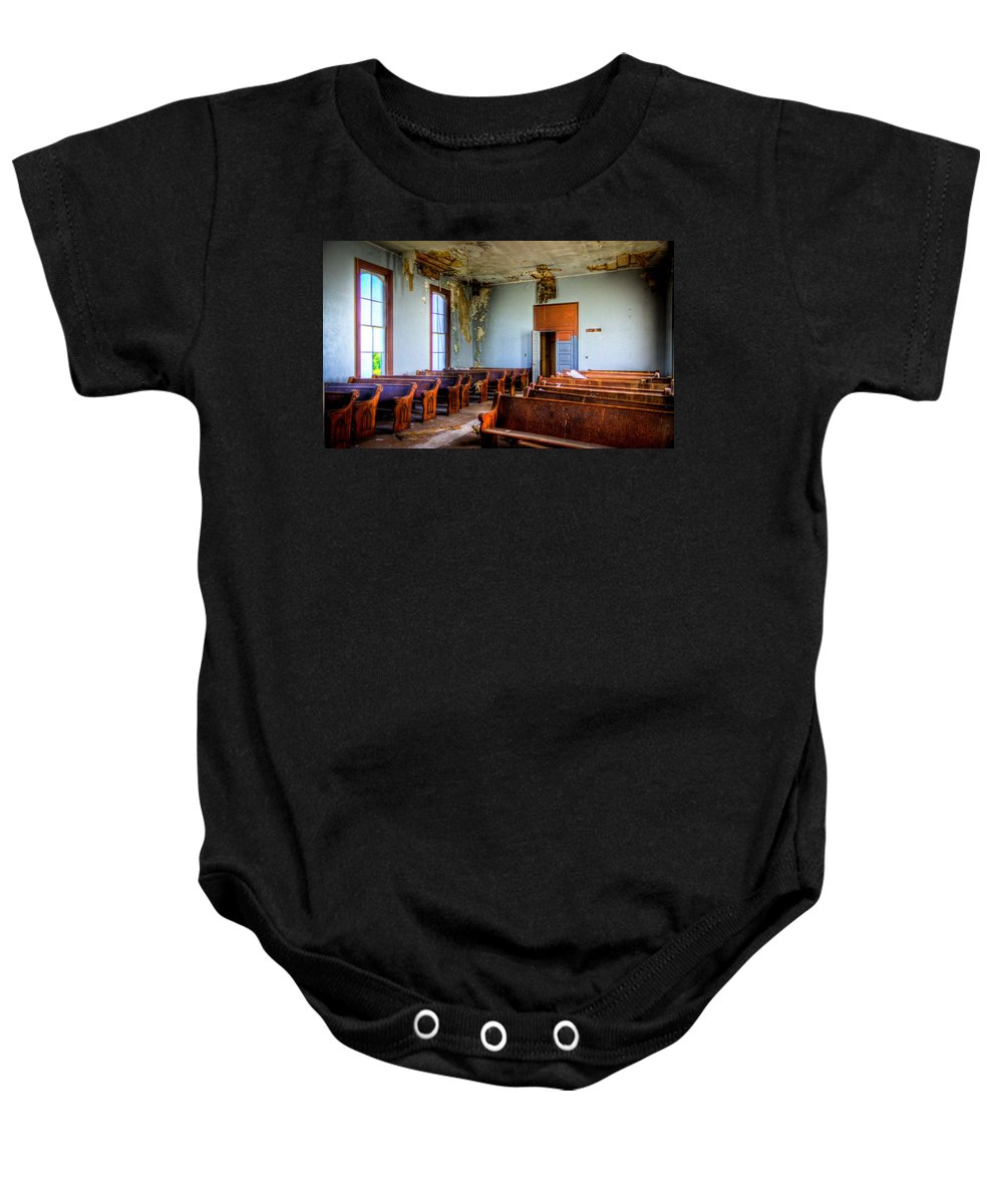 Church Baby Onesie featuring the photograph Empty Seats by Jonny D