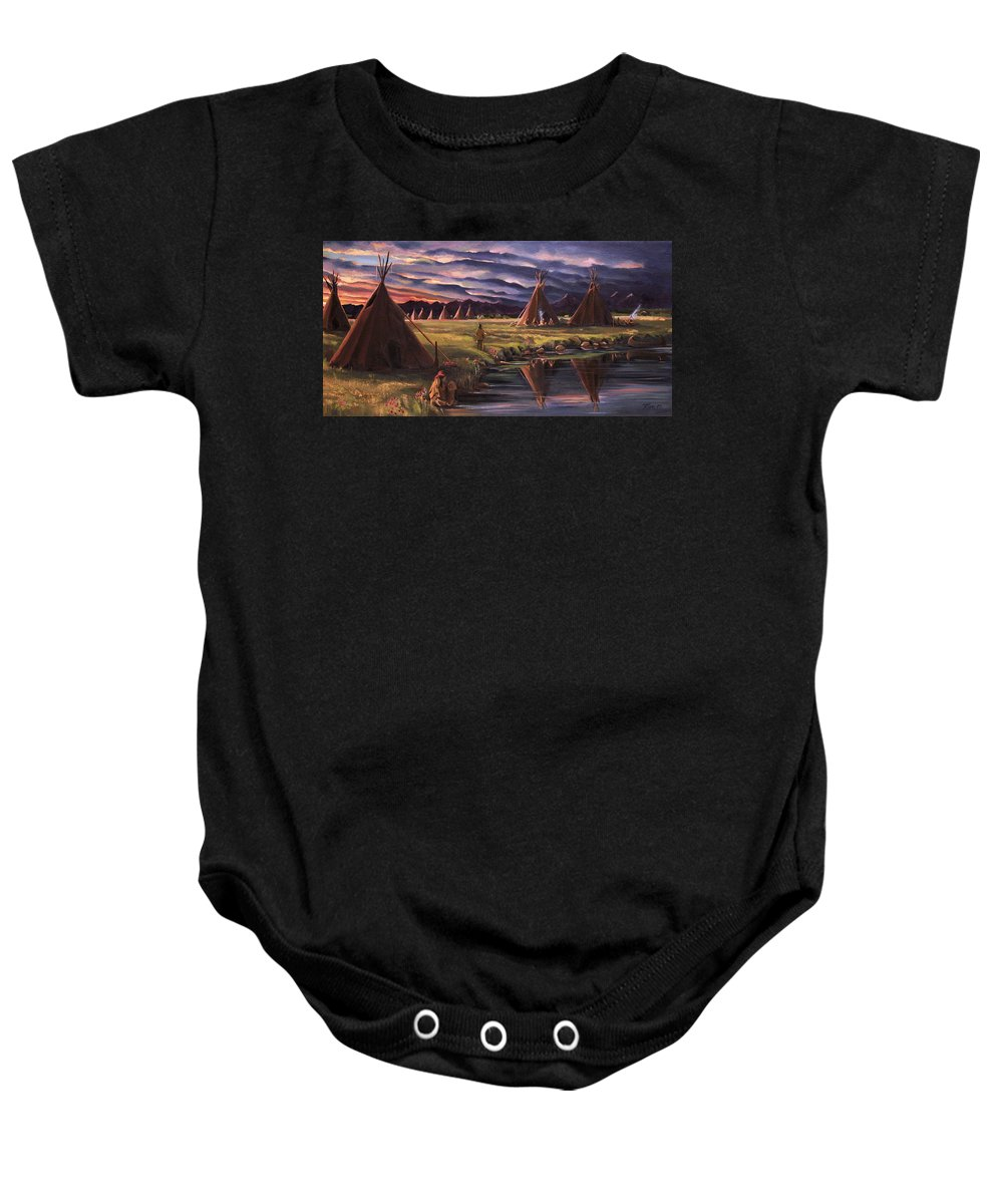 Native American Baby Onesie featuring the painting Encampment At Dusk by Nancy Griswold