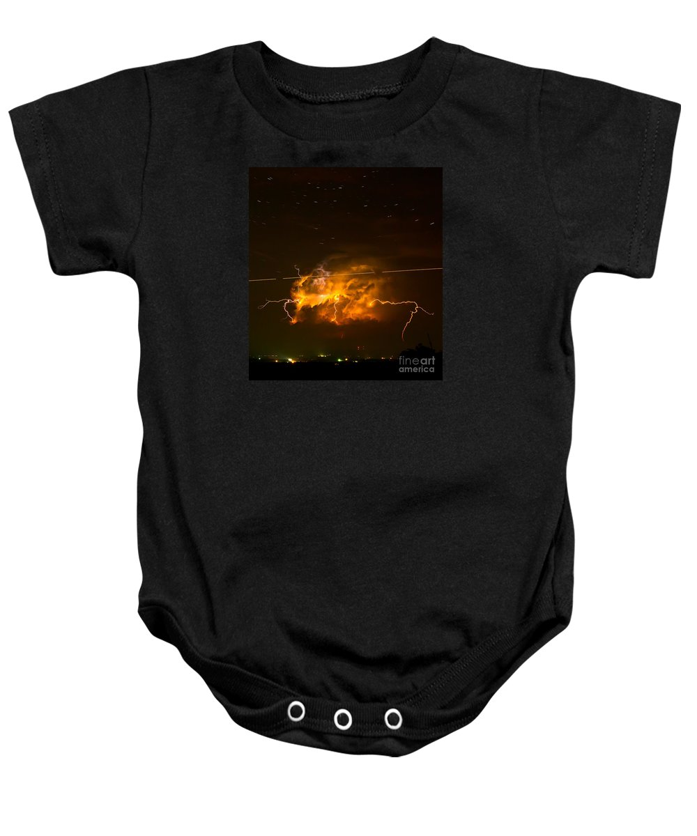 Michael Tidwell Photography Baby Onesie featuring the photograph Enchanted Rock Lightning by Michael Tidwell