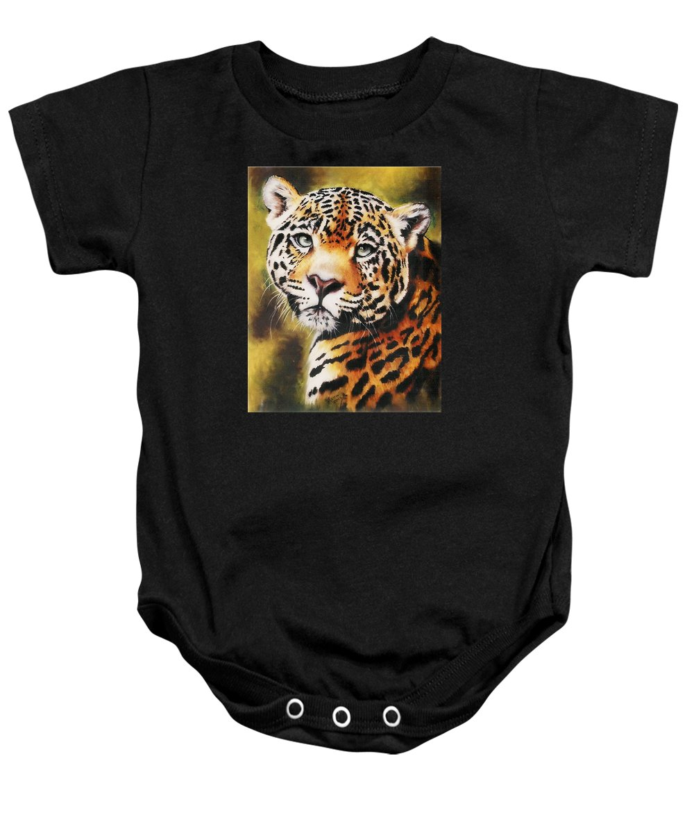 Jaguar Baby Onesie featuring the pastel Enchantress by Barbara Keith