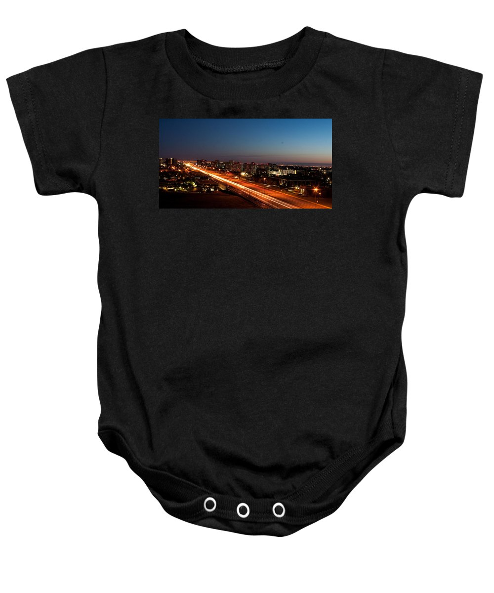 Night Baby Onesie featuring the photograph End Of Day by Angus Hooper Iii