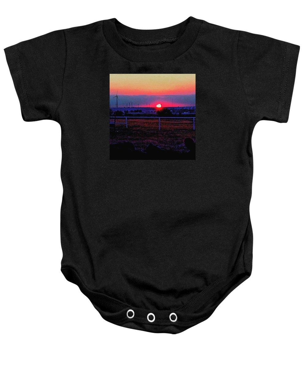Sunset Baby Onesie featuring the photograph End Of The Day by Cheyene Vandament