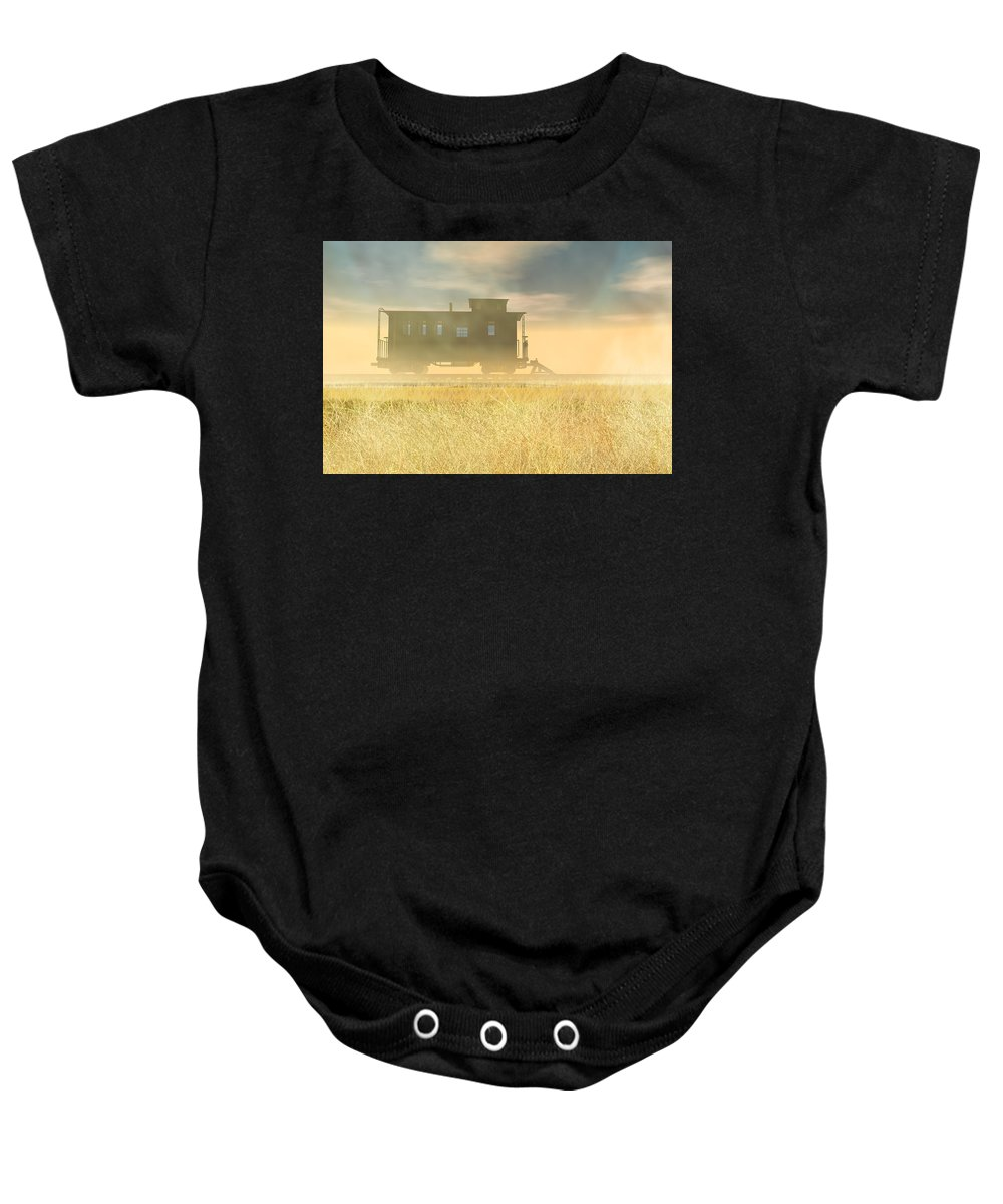 Abandoned Baby Onesie featuring the digital art End Of The Line II by Carol and Mike Werner