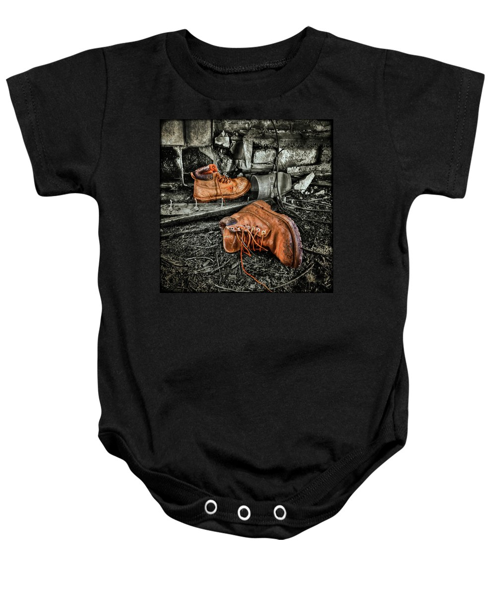 Boot Baby Onesie featuring the photograph End Of The Road by Evelina Kremsdorf