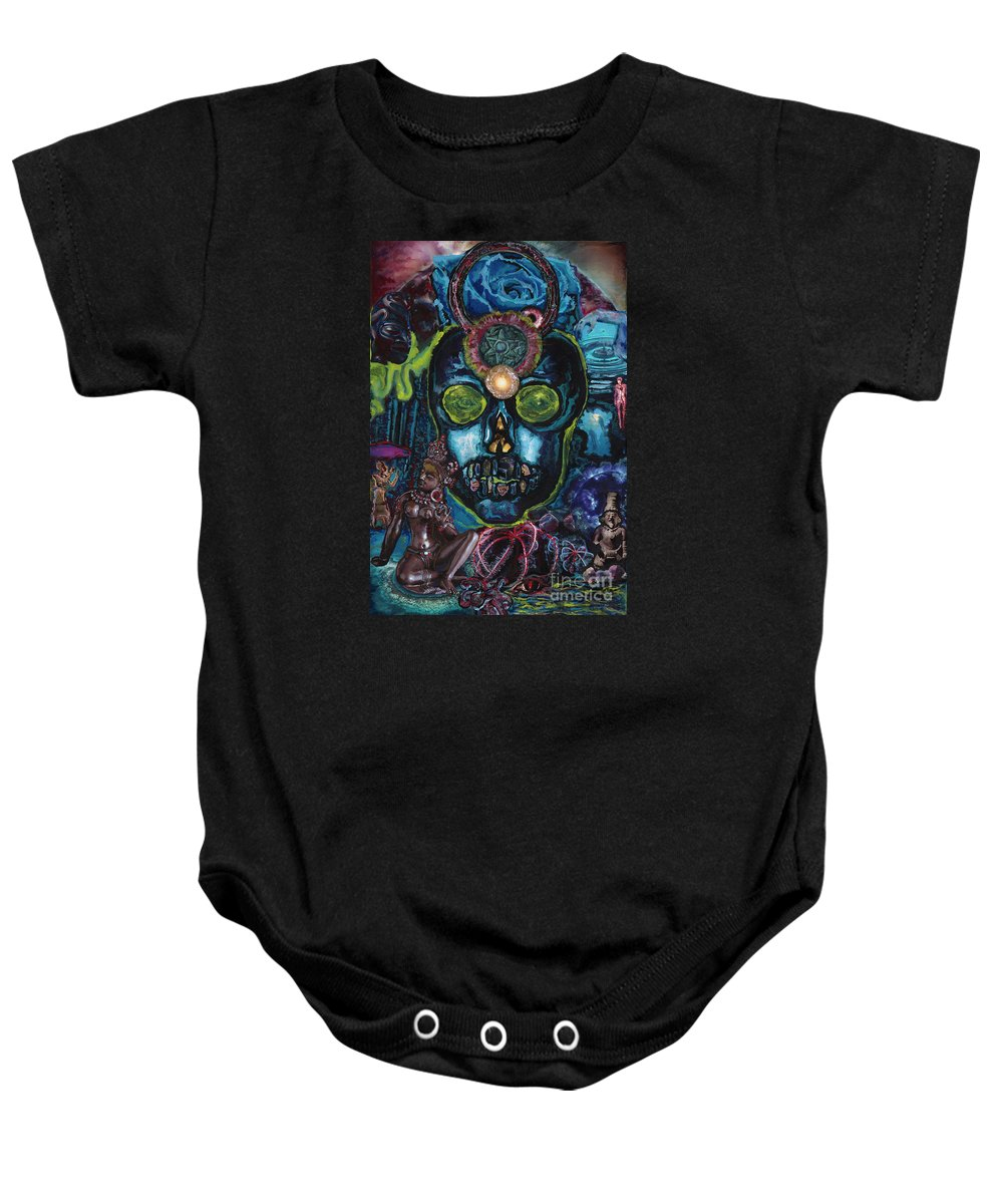 Human Baby Onesie featuring the painting Energy Self Portrait by Emily McLaughlin