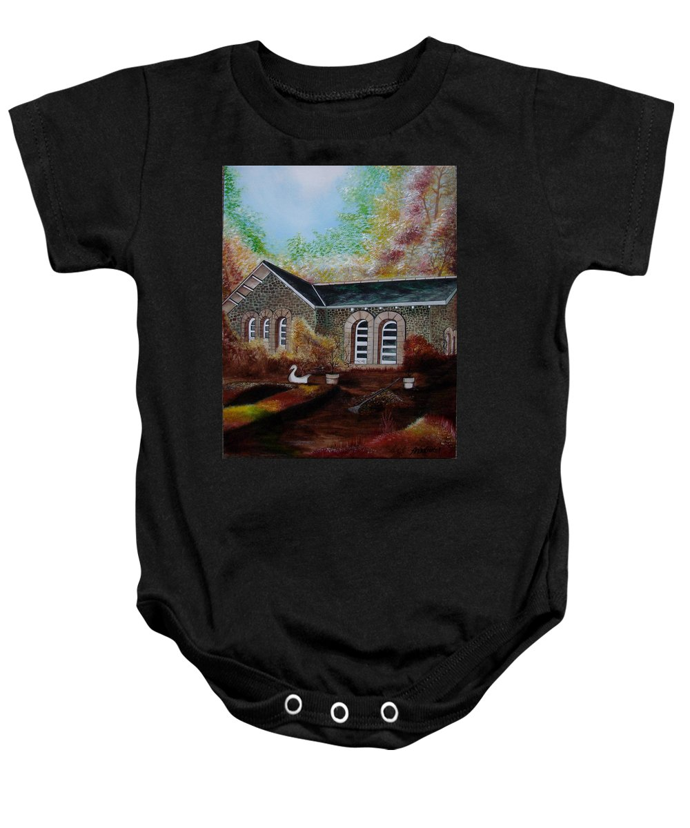 Autmn Baby Onesie featuring the painting English Cottage In The Autumn by Glory Fraulein Wolfe
