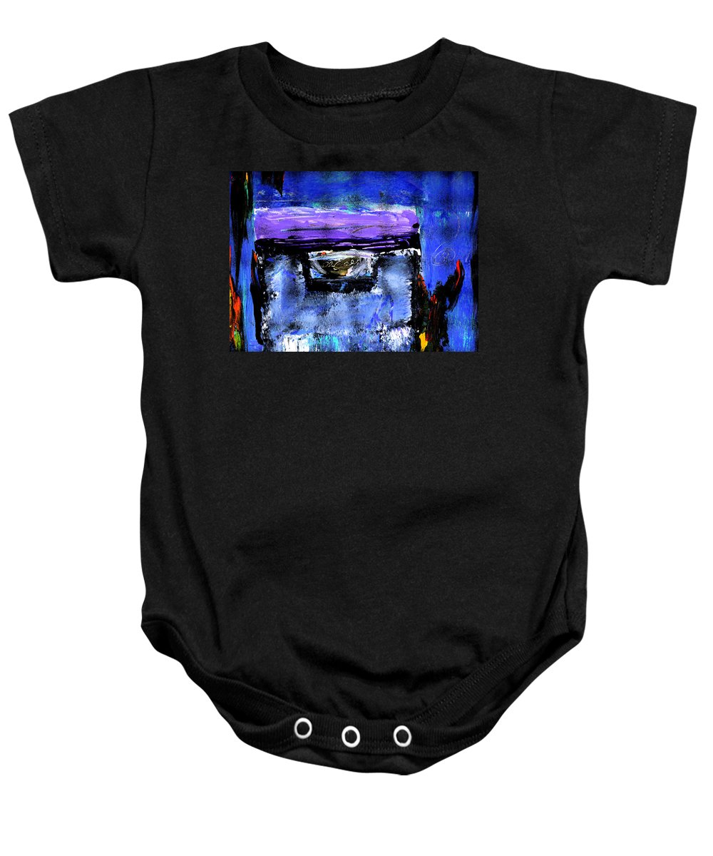 Abstract Baby Onesie featuring the painting Enter by Wayne Potrafka