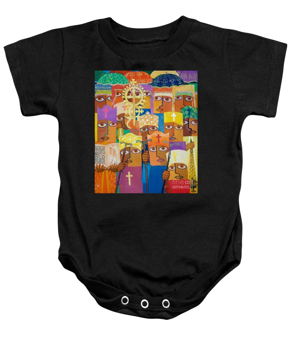 Ethiopian Epiphany Baby Onesie featuring the painting Epiphany by Yoseph Abate