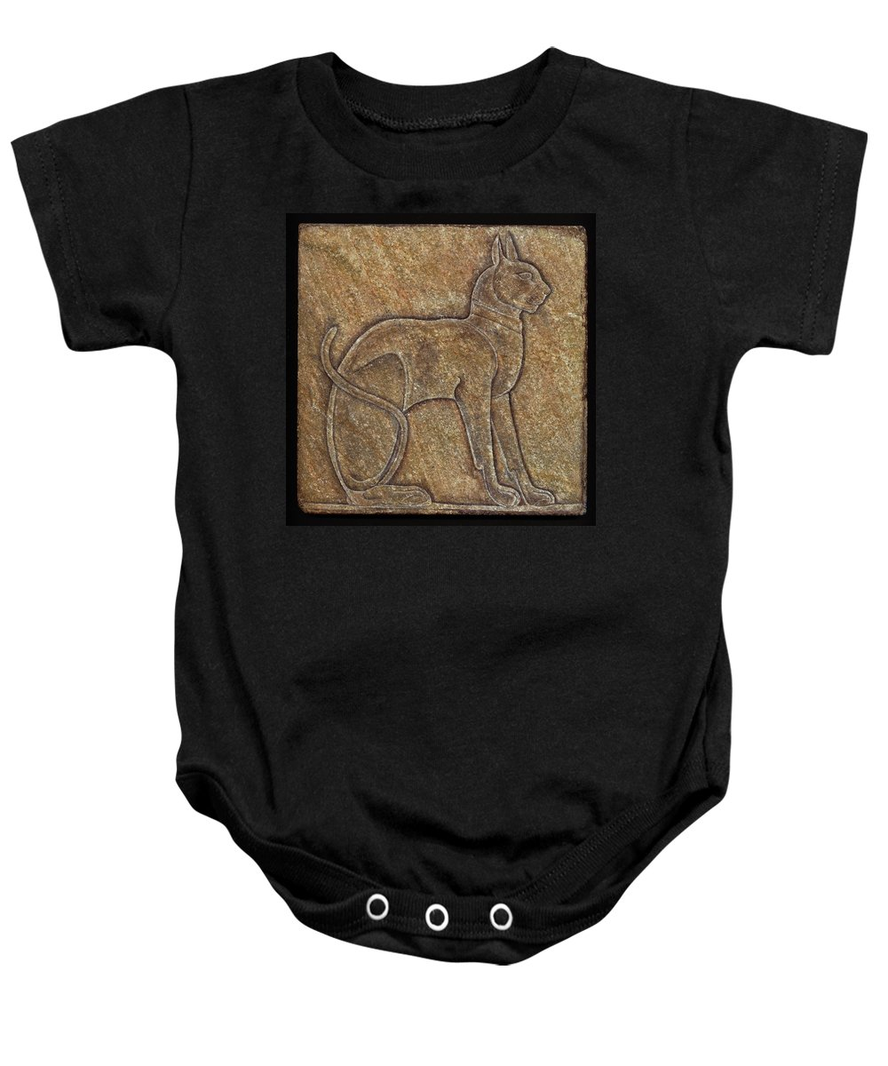 Cat Baby Onesie featuring the mixed media Eqyptian Cat Relief by Richard Bulman