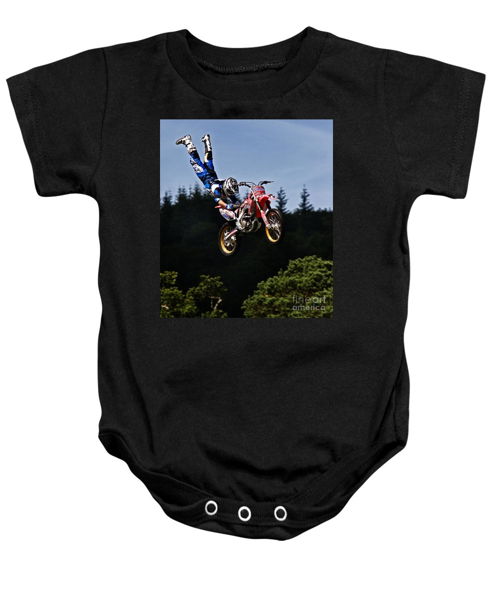 Motocross Baby Onesie featuring the photograph Escaping Motorbike by Angel Ciesniarska