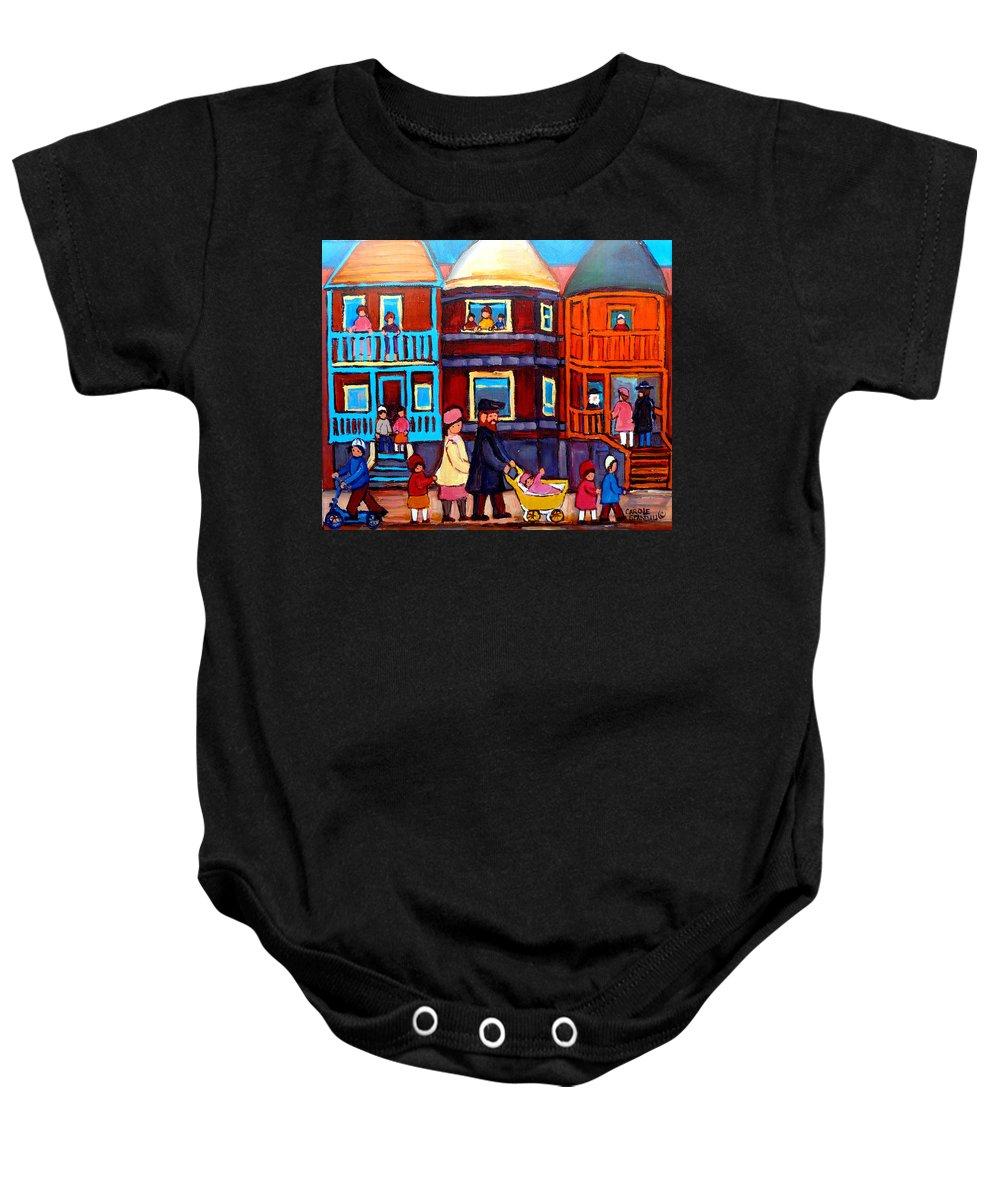 Esplanade Street Baby Onesie featuring the painting Esplanade Street Sabbath Walk by Carole Spandau