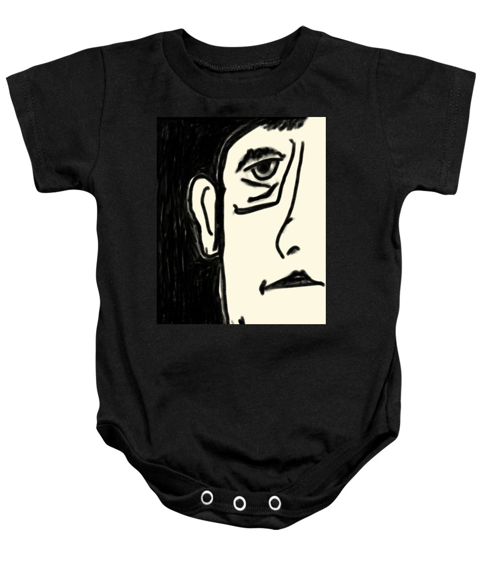 Apple Pencil Drawings Baby Onesie featuring the drawing Etching 29 - Man by Bill Owen
