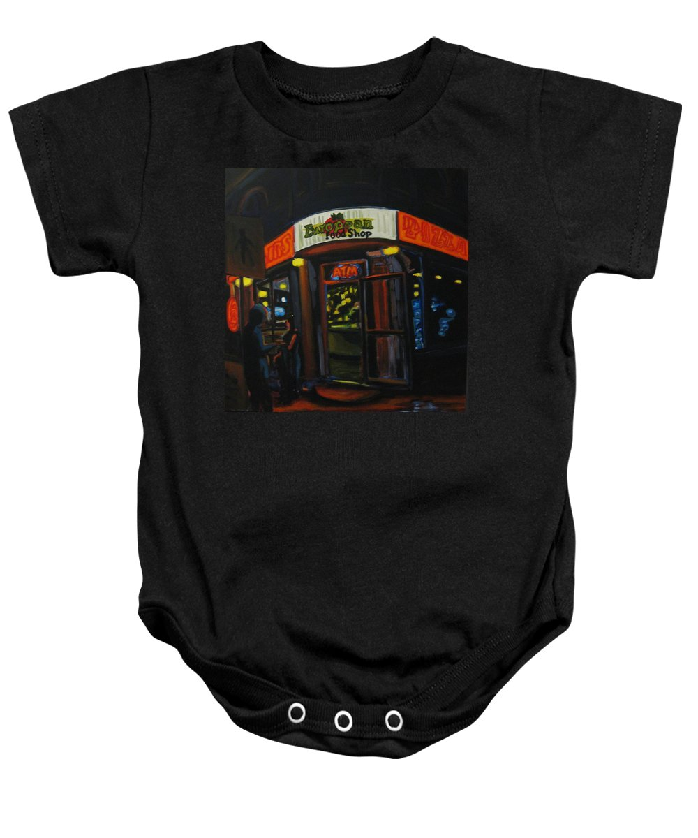 City Baby Onesie featuring the painting European Food Shop by John Malone