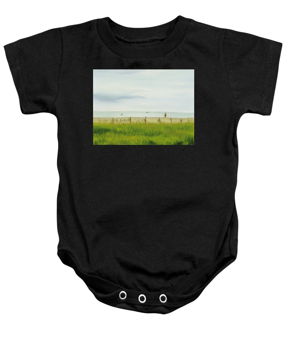 Seascape Baby Onesie featuring the painting Evening At Cape May by Lea Novak