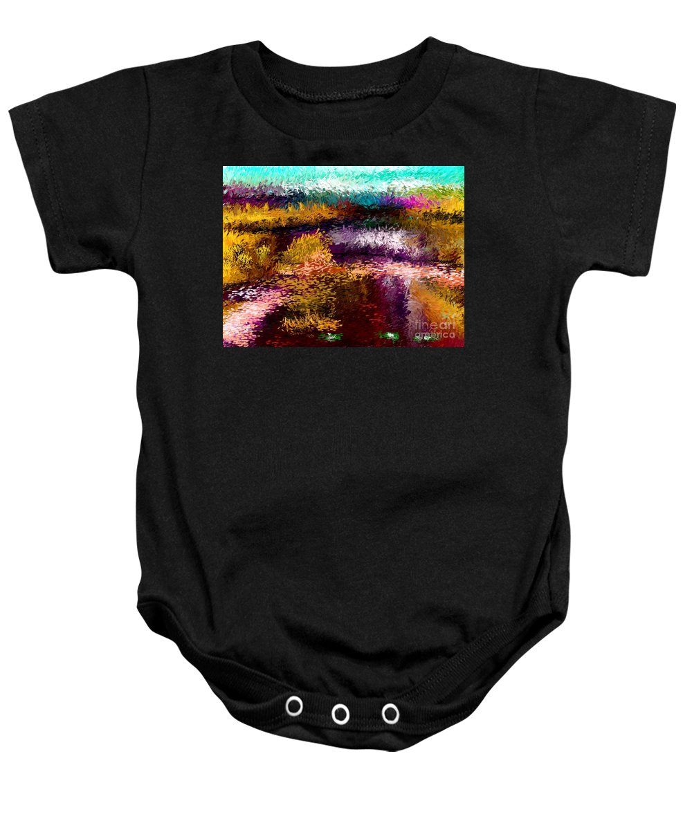 Abstract Baby Onesie featuring the digital art Evening At The Pond by David Lane