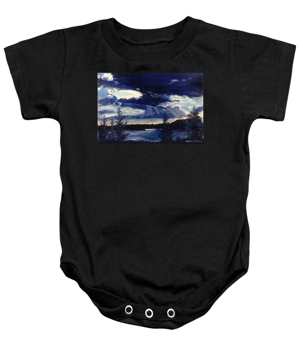 Landscape Baby Onesie featuring the painting Evening Lake by Steve Karol
