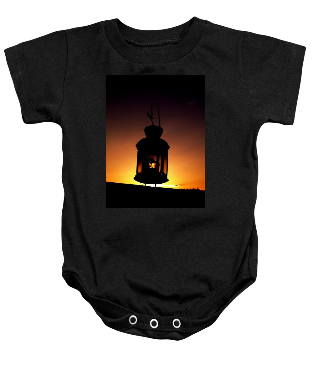 Lantern Baby Onesie featuring the photograph Evening Lantern by Tim Allen