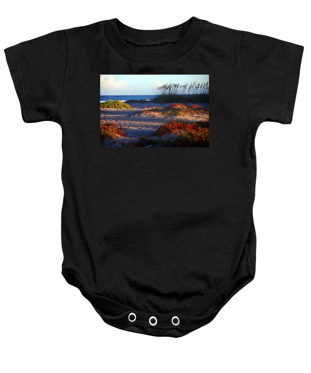 Beach Baby Onesie featuring the photograph Evening Light At The Beach by Susanne Van Hulst