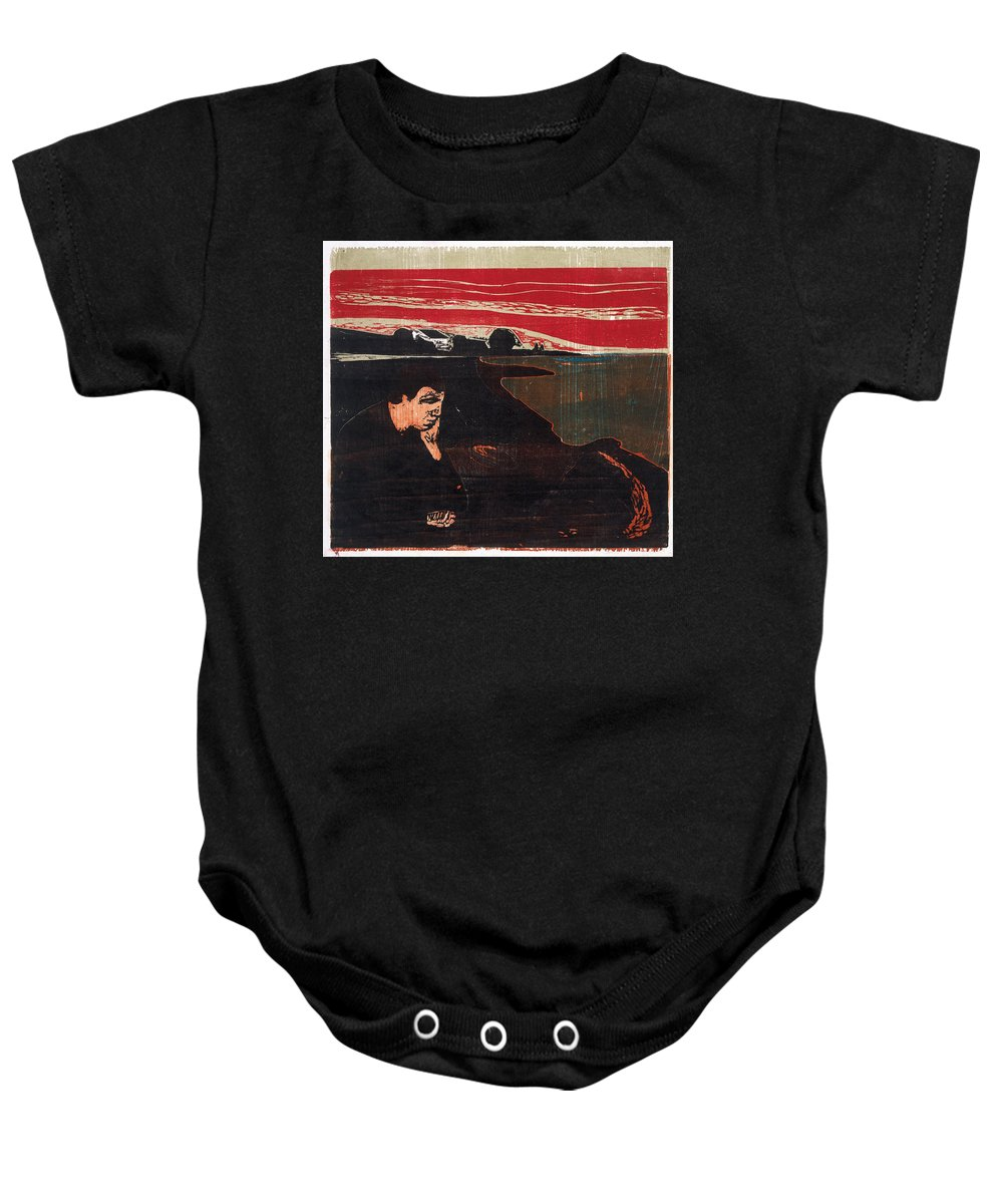 Edvard Munch Baby Onesie featuring the drawing Evening. Melancholy by Edvard Munch