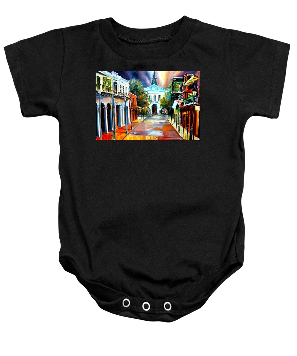 New Orleans Baby Onesie featuring the painting Evening On Orleans Street by Diane Millsap