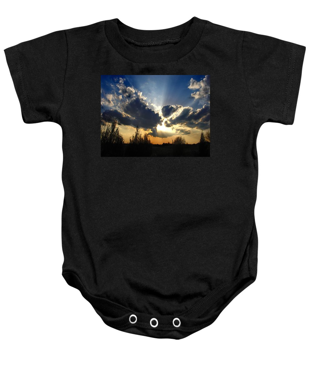 Landscape Baby Onesie featuring the photograph Evening Sky by Steve Karol